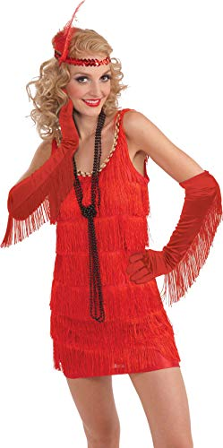 Forum Novelties Long Satin Fringed Gloves, Red,