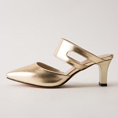 su Zanpa Heels Mode Sandali Scivolare Mules Gold Donne wqqURS1TA