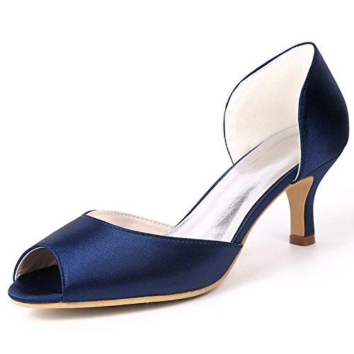 Bout Air De Svhs De L Plate Marine Talons Femmes Hauts Bleu forme Rond Chaussures Mariage Cour Amande Côté En Bridesmaid Afw18qp