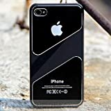 Premium Metal Style Edition Reflective SPK Case with Screen Protector for iPhone 4 4S - Silver Black