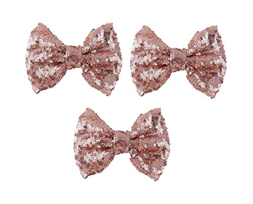 Love Fairy Fashion Bow Hairpin Sequins Hair Clip Multicolor 0ptional for Children and Women (3 Pcs Rose Gold)