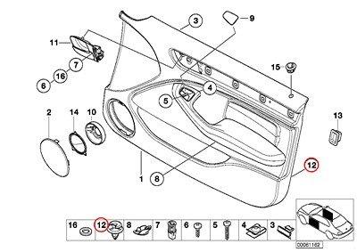 8 X BMW Genuine Door Lining Single Parts Front Door Trim Panel Clip Green 840Ci 840i 850Ci 850CSi 735i 735iL 740i 740iL 750iL 318i 323i 325i 328i M3 3.2 740i 740iL 740iLP 750iL 750iLP 320i 323i 325i 325xi 328i 330i 330xi 745i 760i 745Li 760Li