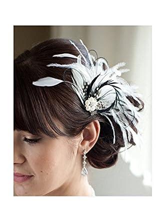 Jelinda Damen Schwarz Weiße Hochzeits Feder Haarclip Fascinator ...