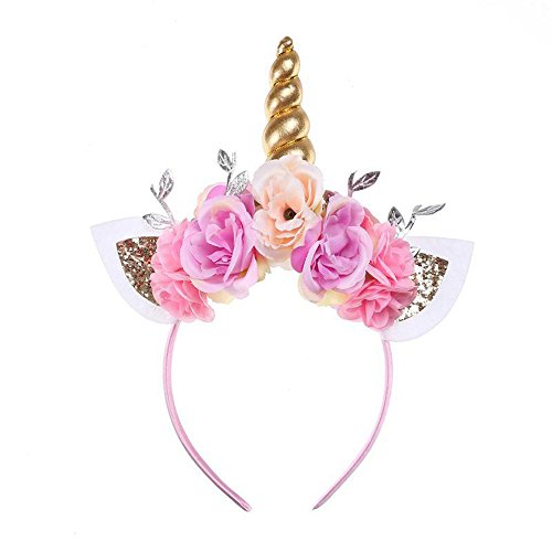 Glitter Unicorn Horn Head Band Flowers Ears Bands for Party Decoration Cosplay Costume Gold