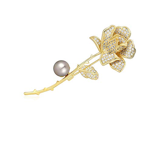 M&D Jewelry 18k Gold Rose Flower Women's Brooch Pin Paved with Cubic Zirconia Pearl (Brownish Shell Pearl)