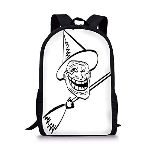 (School Bags Humor Decor,Halloween Spirit Themed Witch Guy Meme Lol Joy Spooky Avatar Artful Image,Black White for Boys&Girls Mens Sport)