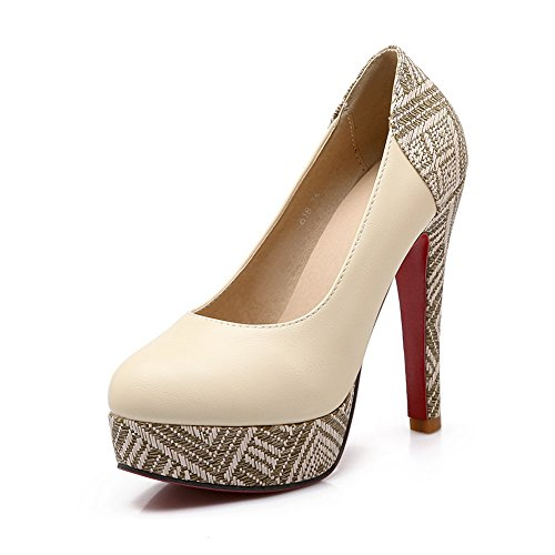 BalaMasa Ladies Color Matching Thick Bottom Heel Lattice Imitated Leather Pumps-Shoes Beige r1ujDdrt