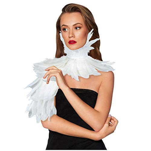 HOMELEX Gothic Real Feather Cape Shawl Shoulder Wings Choker Collar -