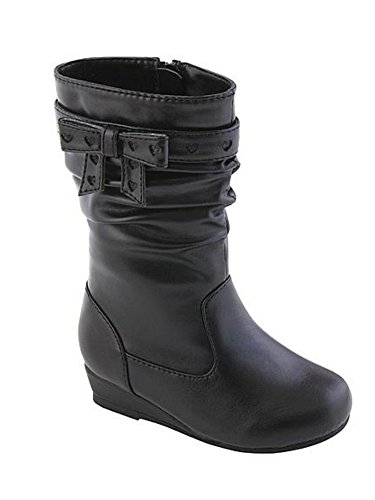 Canyon River Blues Toddler Girls Black Leather Look Fashion Boots with Hearts 7T