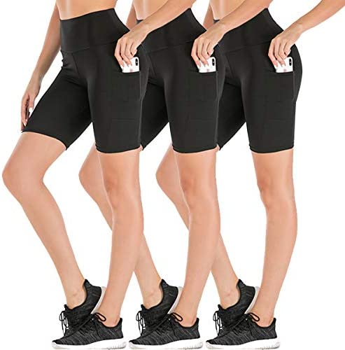 MOVE BEYOND Buttery Soft Womens 8 High Waist Workout Yoga Shorts Side Pockets Athletic Compression Biker Shorts
