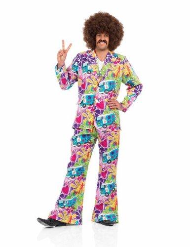 60s Mens Fancy Dress (1960s Hippie Mens Psychedelic Fancy Dress Suit - XL (Chest 46-48in))