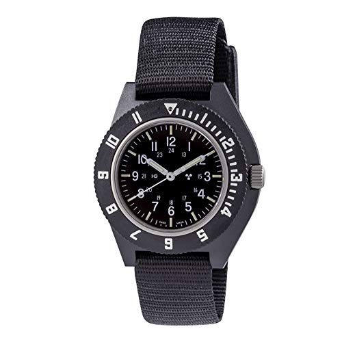 Marathon Watch WW194001BK 2019 Edition Navigator Swiss Made Military Issue Pilot's Watch with Tritium - Sapphire Crystal, Steel Crown, Battery Hatch - ETA F06 Movement (41mm, Black, No Markings)