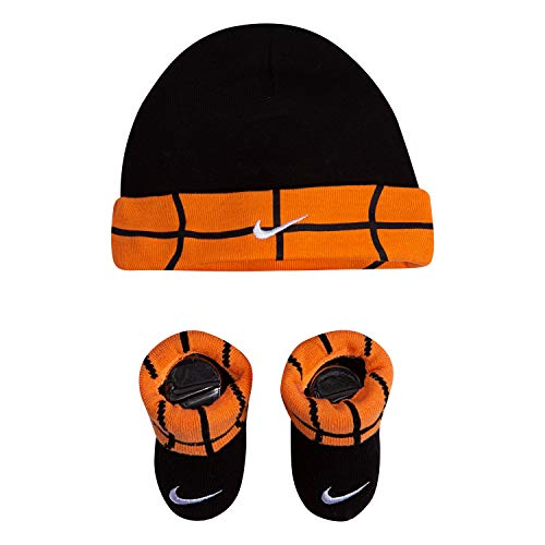 NIKE Children's Apparel Baby Hat and Bootie Two Piece Set, black Basketball Cuff, 0/6M