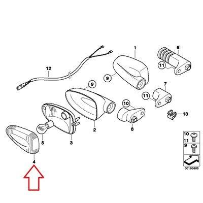 BMW Genuine Rear Turn indicator Lamp Amber Lens G450X R1200GS R1200GS Adventure HP2 Enduro R1200R R1200S K1200S K1300S K1200R K1200R Sport F800S F800ST F650GS F800GS F800R