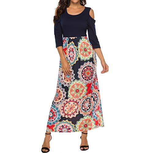 Price comparison product image OFEFAN Women's Summer Cold Shoulder Floral Print Elegant Maxi Long Dress with Pocket