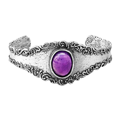 (Paz Creations .925 Sterling Silver Bangle with Amethyst or Turquoise (7.25, Amethyst))