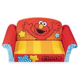 Marshmallow Furniture 2-in-1 Flip Open Foam Couch Bed Sleeper Sofa Kid's Furniture for Ages 18 Months and Up, Elmo