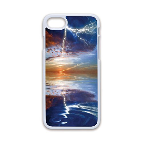 Phone Case Compatible with iPhone7 iPhone8 White Soft Edges 2D Print,Lake House Decor,Lightning Over The Sea with Reflections Storm Theme Mother Earth Zen Decor Image,Orange Blue,Hard Plastic Pho