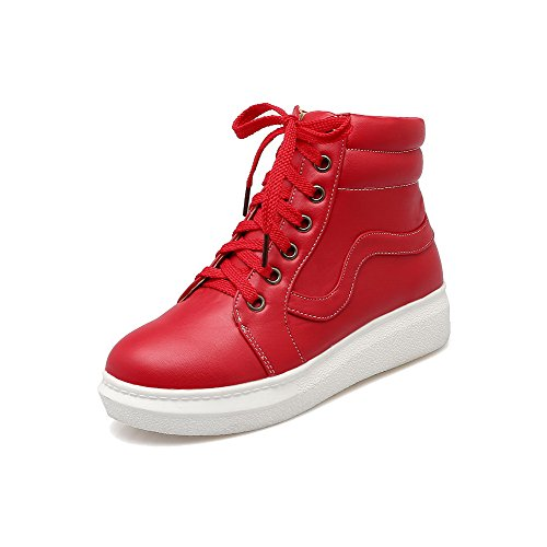Round Red Heels Low Closed Solid Toe Allhqfashion Low Lace up Women's Top Boots 7OxvnYZ