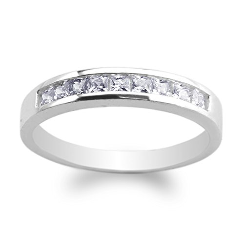 JamesJenny Womens White Gold Plated Simple Channel Princess Cut CZ Ring Size 4-10