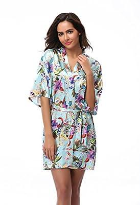 Feelia Women's Short Floral Robes Satin Kimono Robe Silk Bathrobe For Bridesmaid