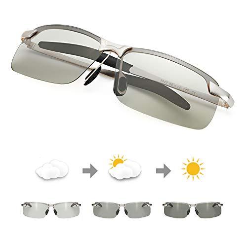 TJUTR Men's Photochromic Sunglasses with Polarized Lens for Outdoor 100% UV Protection, Anti Glare, Reduce Eye Fatigue (Silver Rectangular Frame/Grey Photochromic Polarized Lens) ()
