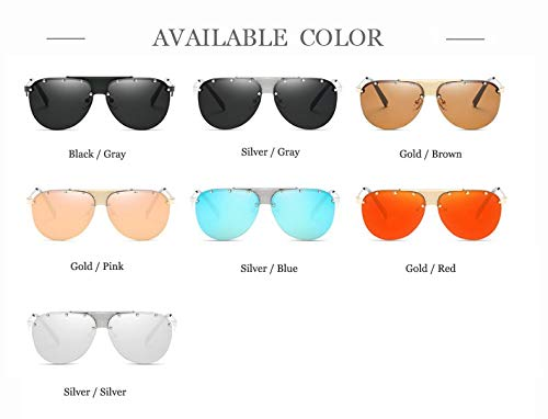 Hombre diseño Silver Color Merriz único Gray Mujer Gafas con Sol Retro para Revestimiento de para Metal de Estilo gold de brown q6gw8xPqT