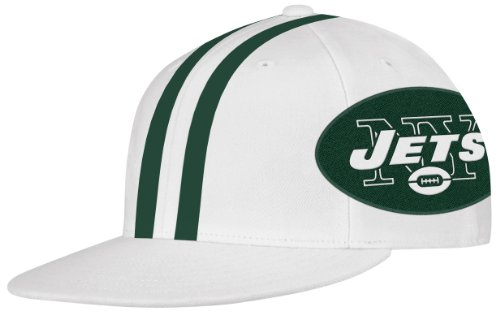 Reebok Football Visor - NFL New York Jets End Zone Flat Visor Flex Hat - Tw79Z, White, Large/X-Large