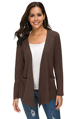 TownCat Women's Loose Casual Long Sleeved Open Front Comfy Cardigans with Pocket (XL, Coffee)
