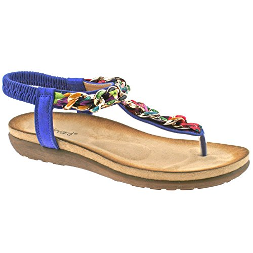 LADIES BOULEVARD METALLIC BLUE MULTI ELASTICATED TOE POST SANDALS L9528C KD-UK 8 (EU 41)