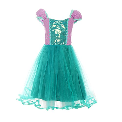 ReliBeauty Girls Little Mermaid Costume Princess Dress up, (Ariel Cosplay Dress)