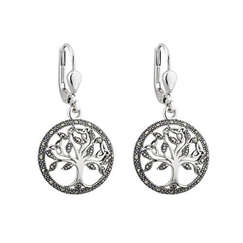 Solvar Silver Marcasite Tree of Life Drop Earrings