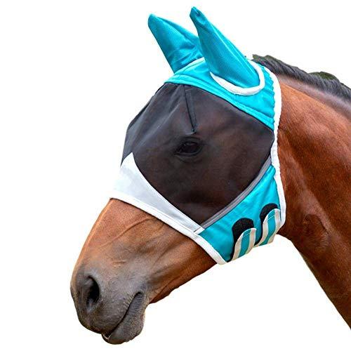 (Horse Fly Mask Shield Pet Protective Cover Eye Summer Ergonomics Anti-UV Half Face Mesh Supplies (Blue, L))