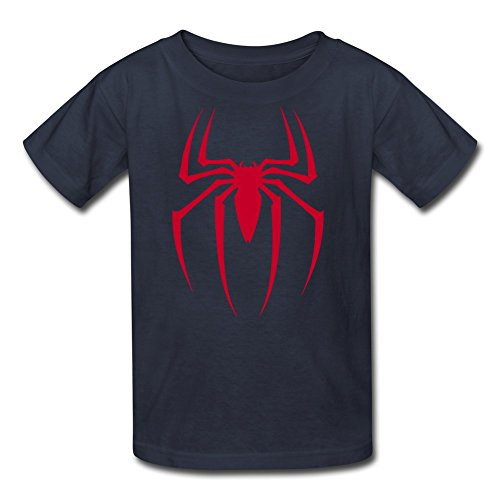 CHZS Youth's Spider-Man Classic Basic Red Logo T-Shirt S Navy