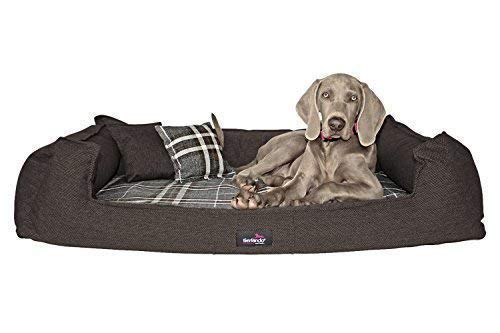 TIERLANDO Orthopedic Dog Bed Scotch 2-in-1-webstoff Blend Check Plaid XXXL 90-185 cm 14 Beige, SC4   110 x 90 cm
