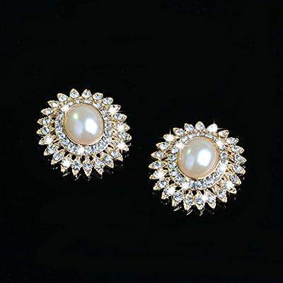 5x Alloy Rhinestone Pearl Flatback Buttons Scrapbooking Embellishment 29mm
