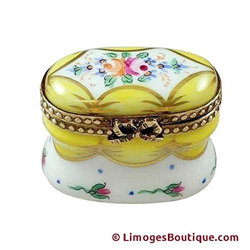 YELLOW CHEST WITH FLOWERS - LIMOGES BOX AUTHENTIC PORCELAIN FIGURINE FROM FRANCE (Limoges Box Yellow)