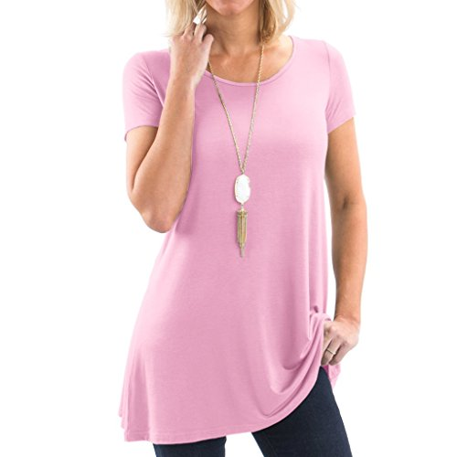 Posh Women's Short Sleeve Boatneck Tunic with Symmetrical Hem - Super Soft Loose Fit T-Shirt Tunic Top, Perfect Casual Blouse for Leggings & Jeans- Small - Light Pink