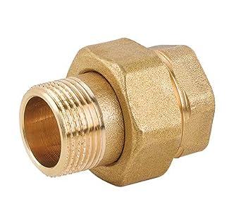 1 1//2 Racor de lat/ón de 3 piezas conector fitting accesorio roscado rosca hembra rosca macho MH hex/ágono uni/ón de tubos de 3 piezas con anillo de sellado