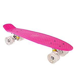 XIANGHUi Monopatin Niños, Mini Skateboards y 4 Ruedas de PU Transparentes para niños Skateboard para