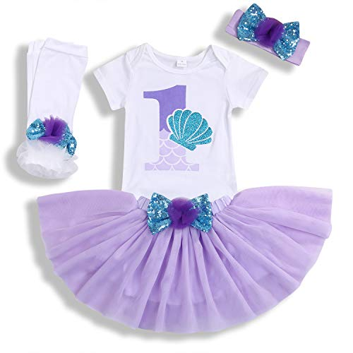 Baby Girls 1st Birthday Mermaid Outfit Romper Headband Leggings Tutu Dress Sequin Bowknot Princess Skirt Sets (12-18 Months, White # Mermaid)]()