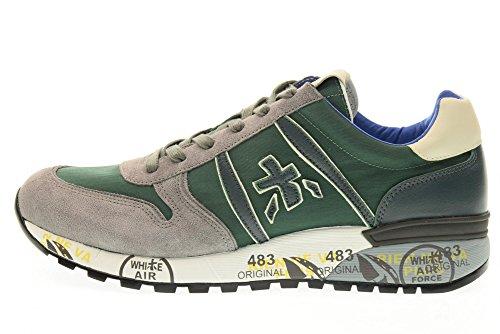 PREMIATA hombre de las zapatillas de deporte bajas LANDER 2019 talla 41 Gris / verde