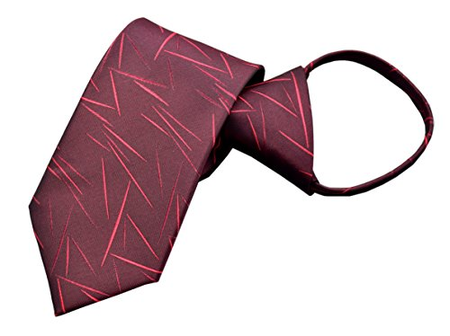 Mens Zip Tie Dark Burgundy Red Graceful Needle line Pattern Necktie Young Series