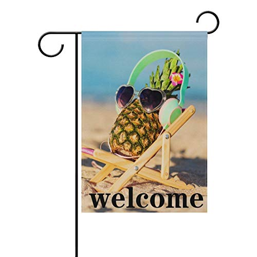 Raininc's Welcome Summer Pineapple Beach Theme Garden Flag 1