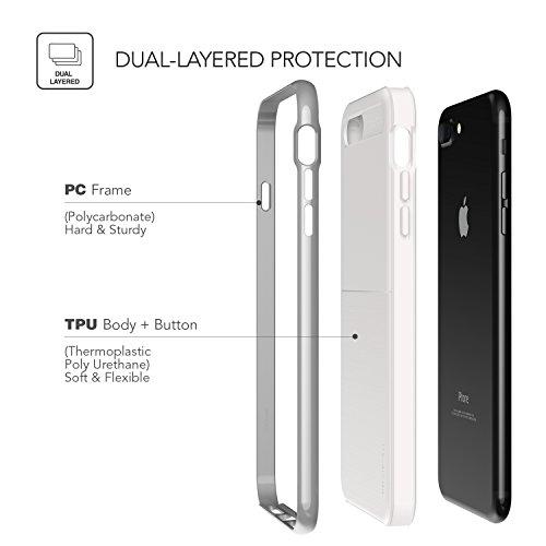 iPhone 7 Plus Hülle, VRS Design® Schutzhülle [Weiß+Silber] Schlagfesten Stoßstangen TPU Bumper Case Kratzfeste Schlanke Handyhülle mit Klappständer [New High Pro Shield] für Apple iPhone 7 Plus (2016)