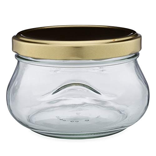 12 oz Glass Squat Bulb Jars (Gold Metal Lug Cap) Case 12 by Berlin Packaging
