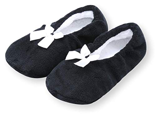 Pembrook Fuzzy Soft Coral Fleece Slippers - Black - Large (9-10.5) - Ballet Style with Non-Skid Sole - Faux Shearling Lining - Great Plush Slip On House Slippers for Adults, Women, Girls
