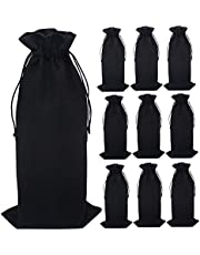 Jute Wine Bags, 14 x 6.25 inches Hessian Wine Bottle Gift Bags with Drawstring (Black, 10PCS)