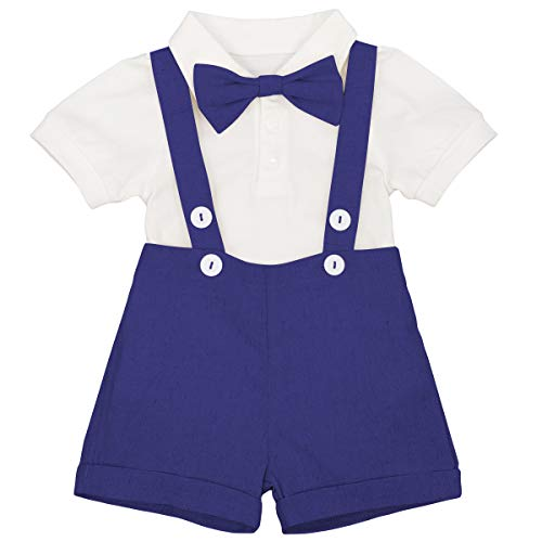 Baby Boys Formal Suit Gentleman Bowtie + Summer Short Sleeve Romper + Suspenders Shorts Button Bib Pants Wedding Tuxedo Outfits Birthday Cake Smash Christening Clothes 3pcs Set Royal Blue 18-24M