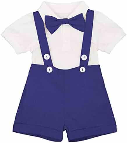 3d97e260862 Baby Boys Formal Suit Gentleman Bowtie Romper Suspenders Shorts Wedding  Tuxedo Outfit Cake Smash Christening Clothes